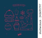 winter icons in hipsters style. | Shutterstock .eps vector #243695797