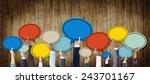 group of hands holding speech... | Shutterstock . vector #243701167