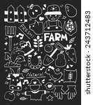 farm elements doodles hand... | Shutterstock .eps vector #243712483