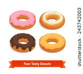 Four Tasty Flavored Donuts Wit...