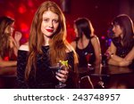 pretty redhead drinking a... | Shutterstock . vector #243748957