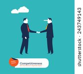 businessmen shaking hands one... | Shutterstock .eps vector #243749143