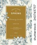 vintage vertical spring card.... | Shutterstock .eps vector #243765757