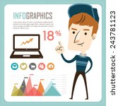 infographics with a young man | Shutterstock .eps vector #243781123