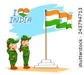 illustration of kids saluting... | Shutterstock .eps vector #243794713
