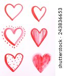 painted hearts on sheet of... | Shutterstock . vector #243836653