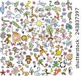 children's drawings of doodle... | Shutterstock .eps vector #243837397