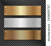 three metallic banners on black ...