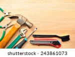 set of tools over a wood panel | Shutterstock . vector #243861073