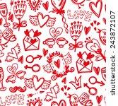 cute vector hand drawn pattern... | Shutterstock .eps vector #243872107