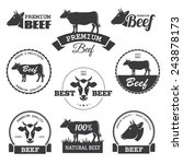 set of black beef labels  | Shutterstock . vector #243878173