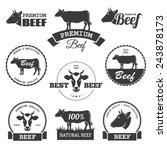 set of black beef labels  | Shutterstock . vector #243878173