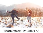 friends having fun on snow | Shutterstock . vector #243880177
