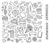 set of love doodle icons vector ... | Shutterstock .eps vector #243904213