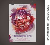 vector love doodles watercolor... | Shutterstock .eps vector #243904237