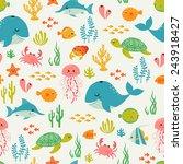 cute underwater pattern on... | Shutterstock .eps vector #243918427