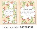 set of invitations with floral... | Shutterstock .eps vector #243923557