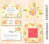 set of invitations with floral... | Shutterstock .eps vector #243933517
