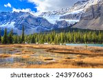 sunrise at bow lake in canadian ... | Shutterstock . vector #243976063