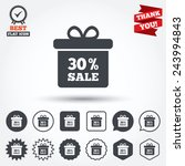 30  sale gift box tag sign icon.... | Shutterstock .eps vector #243994843