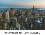 aerial view of new york at dusk | Shutterstock . vector #244000357
