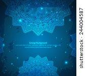 abstract aztec blue ornament....   Shutterstock .eps vector #244004587
