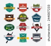 set of vintage camping and... | Shutterstock .eps vector #244007233
