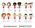 set of cute kids couples | Shutterstock .eps vector #244017223