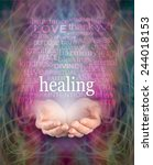 Small photo of Receiving healing - Female cupped hands with the word 'healing' floating above surrounded by a word cloud of healing related words on a swirling misty energy background