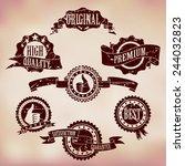 grunge scratched badges on... | Shutterstock . vector #244032823