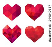 vector collection of polygonal red hearts on white background | Shutterstock vector #244040557