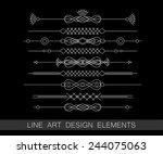 vector set of line art border... | Shutterstock .eps vector #244075063