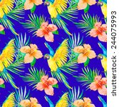 macaw seamless pattern.... | Shutterstock .eps vector #244075993