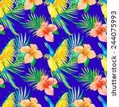 macaw seamless pattern.... | Shutterstock .eps vector #244075993