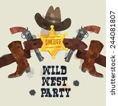 wild west party poster  hat ... | Shutterstock .eps vector #244081807