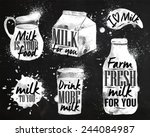 milk symbolic drawing milk with ... | Shutterstock .eps vector #244084987