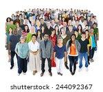 crowed of diversity people... | Shutterstock . vector #244092367