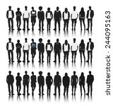 silhouettes of diverse people... | Shutterstock .eps vector #244095163