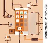 bitmap concept of mobile... | Shutterstock . vector #244098913
