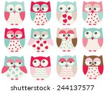 valentine owls | Shutterstock .eps vector #244137577