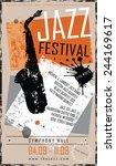 jazz poster template design in... | Shutterstock .eps vector #244169617
