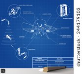 drawing scheme flying saucer ... | Shutterstock .eps vector #244179103