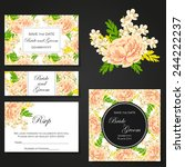 set of invitations with floral... | Shutterstock .eps vector #244222237