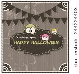 retro halloween funny spiders... | Shutterstock .eps vector #244224403