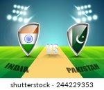 india vs pakistan cricket match ... | Shutterstock .eps vector #244229353