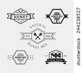 Vector Set Of Honey And Bee...