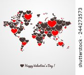 world map with hearts....   Shutterstock .eps vector #244273573