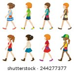 faceless teenagers walking on a