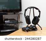 gaming headphones and controller | Shutterstock . vector #244280287