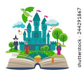set open fantasy book about... | Shutterstock .eps vector #244291867